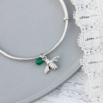 72 Childs Bee Bangle - sil&jade