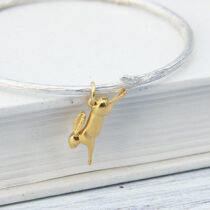 72 Rowan Bangle with Hare - sil&gp