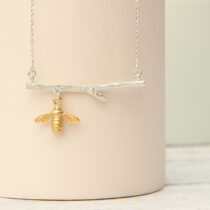 72 Rowan Necklace with Bee - sil&gp